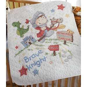 Bucilla Brave Knight Crib Cover Stamped Cross Stitch Kit   34X43 at