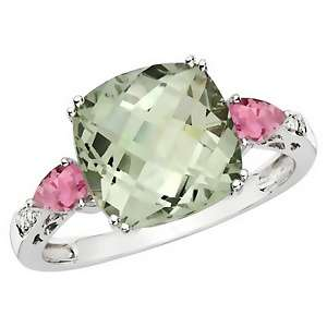 68ct Prasiolite, Pink Topaz and Diamond 10K White Gold Ring