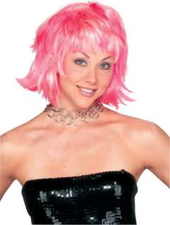costumes in shopping cart choppy layered pink wig