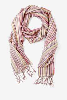 Paul Smith Accessories  Multi Stripe Washed Silk Scarf by Paul Smith