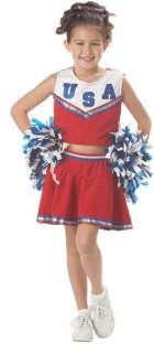 USA Child Girls Patriotic Cheerleader Dress Up Costume