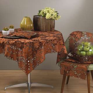 St. Lawrence Embroidery Cutwork Leaf Terracotta Tablecloth 36 54