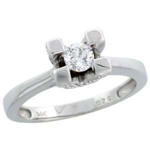 14k White Gold Diamond Solitaire Ring, w/ 0.46 Carat Brilliant Cut