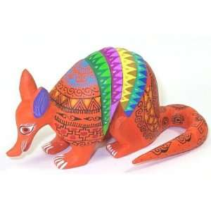 Orange Multi Color Armadillo Oaxacan Wood Carving 5.75 Inch
