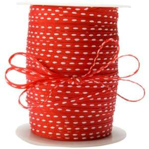 May Arts 3/16 Inch Wide Ribbon, Red with White Stitched Center Arts