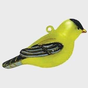 Artisan Hand Blown Glass Goldfinch Ornament