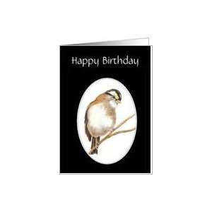 Happy Birthday, Cute Sparrow Cheerful message Bird Card