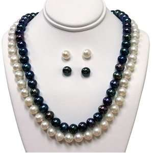 7 8mm Black & White Freshwater Pearl, 2 Necklace and 2