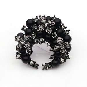 High Quality Black Garland Style Zircon Pearl Rhinestone