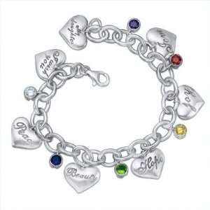 Silver Multicolor CZ Message Heart Charm Bracelet TrendToGo Jewelry