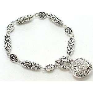 Designer Inspired Crystal Heart Charm Bracelet