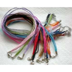 10pcs Mixcolor 4+1 Voile Ribbon Necklace Cord 18 w/Extender ~Jewelry