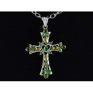Silver Tone Lime Green Peridot Crystal Rhinestone Heart Cross Pendant