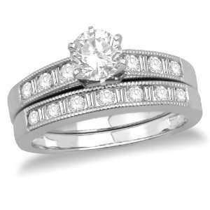 14k White Gold Round Diamond Bridal Ring Set with Channel Set Round