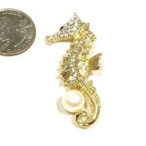 Rhinestone & Faux Pearl Sea Horse Design Gold Plated Brooch Pin