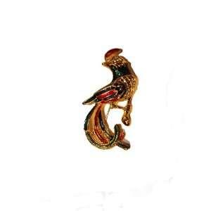 Multi Color Elegant Enamel Peacock Brooch Pin