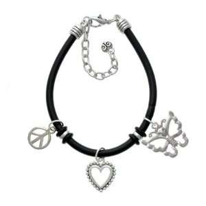 Silver Butterfly Black Peace Love Charm Bracelet [Jewelry] Jewelry