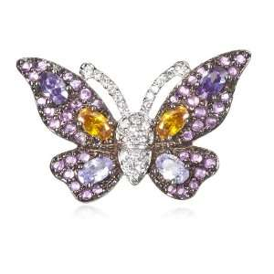 Two Tone Multi Color Cz Butterfly Pin CHELINE Jewelry