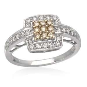 Diamond Fashion Ring 1/2 Carat (Ctw) 14K White Gold Ring Jewelry