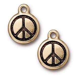Antiqued 22K Gold Plated Round Peace Sign Charms 17mm (2