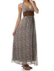 Brown Print Maxi Halter Dress