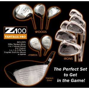 Z100 Vantage Pro Mens Complete 11 Piece Golf Club Set (Right Handed
