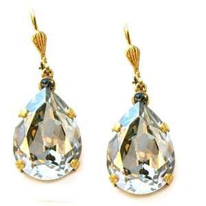 14k Gold Large Teardrop Shade Swarovski Crystal Drop Earrings Jewelry