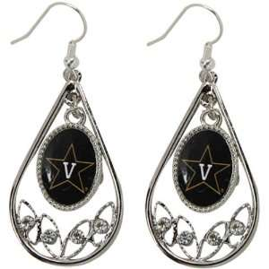 NCAA Vanderbilt Commodores Ladies Tear Drop Crystal Dangle Earrings