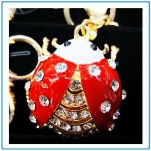 1x Crystal Rhinestone Red Lady Bug w/Mirror Keychain/Necklace/Purse
