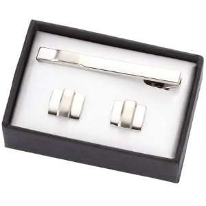 Three Bars Silver Cuff Links & Tie Bar Set Everything