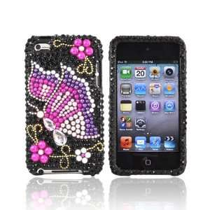 For Apple iPod Touch 4 Bling Case Cover PINK PURPLE