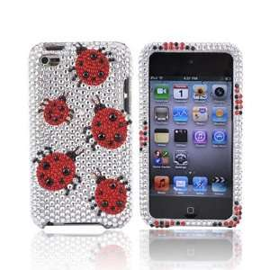 RED LADYBUG SILVER For iPod Touch 4 Bling Hard Case Electronics