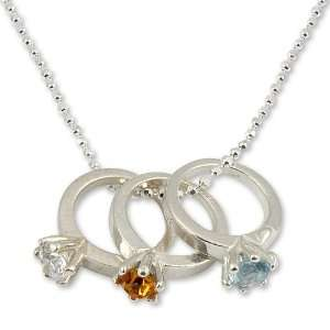 Sterling Silver Tiny Birthstone Ring Necklace Jewelry