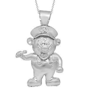 Silver Mens Custom Super Mario Pendant Jewelry
