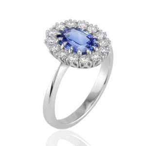 99Ct Oval Cut Sapphire & Diamond Engagement Ring 18k Gold Jewelry