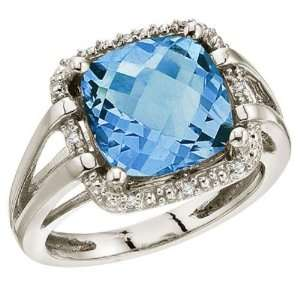 Yellow Gold December Birthstone 10 mm Blue Topaz and Diamond Rope Ring