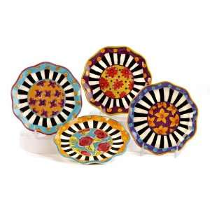 Joyce Shelton Face It Ceramic Dessert Plates (4): Patio, Lawn & Garden