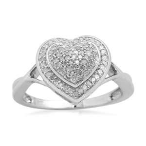 Sterling Silver Diamond Heart Ring (1/4 cttw, I J Color, I3 Clarity
