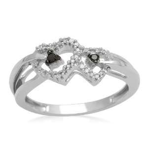 10K White Gold Black and White Diamond Heart Ring (0.07