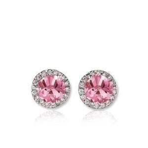 14k White Gold 1/2 Carat Pink Sapphire Diamond Stud Earrings Jewelry