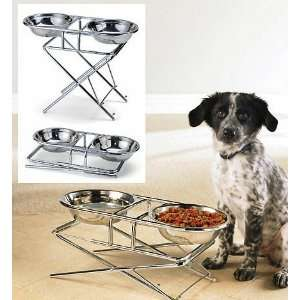 Dog Pet Adjustable Double Feeder Bowls Stainless Steel Food Water