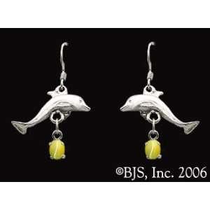 Dolphin Gemstone Earrings, 14k White Gold, Yellow set