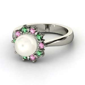 Pearl 14K White Gold Ring with Emerald & Pink Sapphire Jewelry
