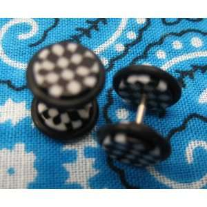 16G Fake Ear Plugs 0G Ear Cheater Black & White Checked