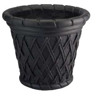 Prestige Fiberglass Basket Planter 22 in Matt Black