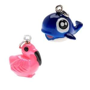 Painted Resin Blue Baby Whale and Hot Pink Flamingo Charms, Qty 1set