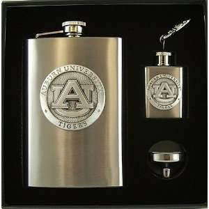 Auburn University Tigers 3 Piece Flasks   Funnel Gift Set