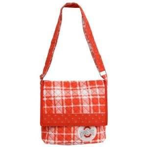 Ohio State Buckeyes Scarlet Plaid Messenger Bag