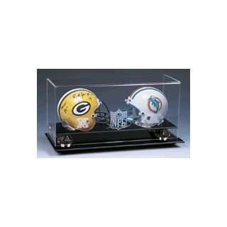 Double Mini Football Helmet Display Case with Gold Risers and Engraved