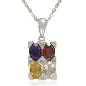5x7mm Oval Shaped Multi Color Gemstones Pendant Necklace, 18 Jewelry